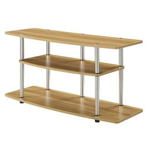 FastFurnishings Modern Wood Metal TV Stand Entertainment Center in Light Oak Finish
