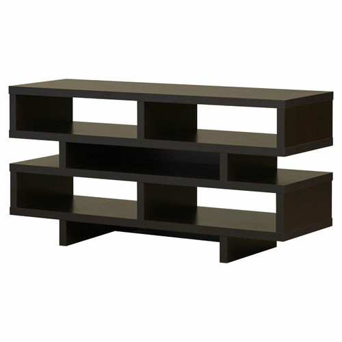 FastFurnishings Modern TV Stand Entertainment Center in Dark Brown Cappuccino Wood Finish