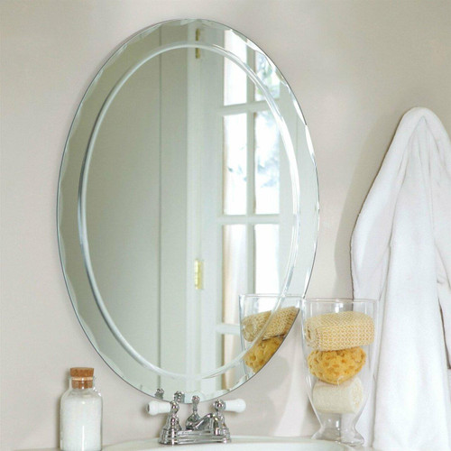 FastFurnishings Oval Frameless Bathroom Vanity Wall Mirror with Beveled Edge Scallop Border