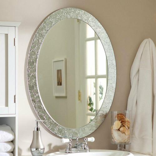 FastFurnishings Oval Frame-less Bathroom Vanity Wall Mirror with Elegant Crystal Look Border