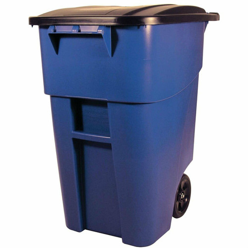 FastFurnishings 50 Gallon Blue Commercial Heavy-Duty Rollout Trash Can Waste/Utility Container