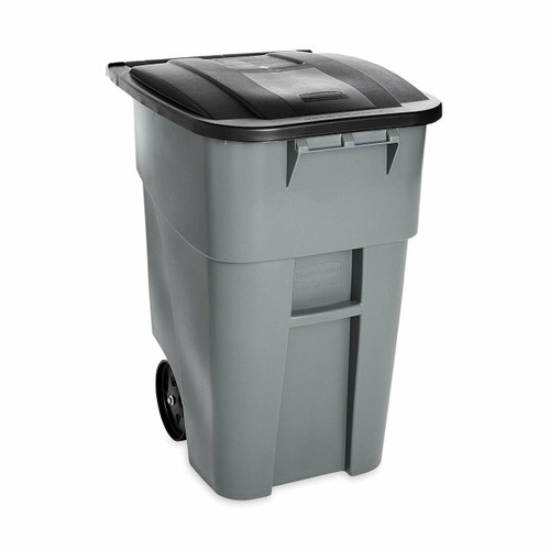 FastFurnishings 50 Gallon Gray Commercial Heavy-Duty Rollout Trash Can Waste/Utility Container