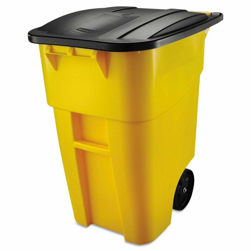 FastFurnishings 50 Gallon Yellow Commercial Heavy-Duty Trash Can with Black Lid
