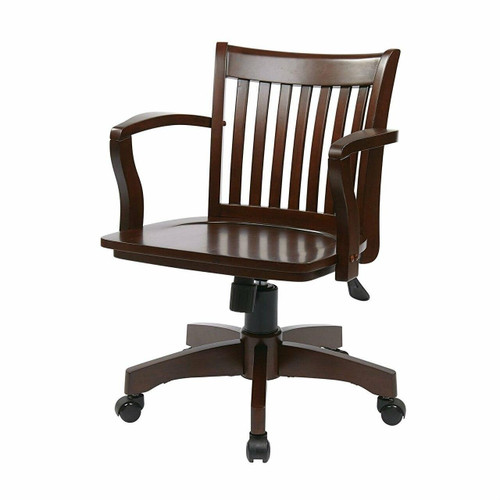 FastFurnishings Espresso Wood Bankers Chair with Wooden Arms and Seat