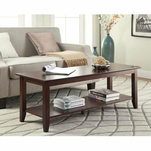 FastFurnishings Eco-Friendly Espresso Wood Coffee Table with Bottom Shelf