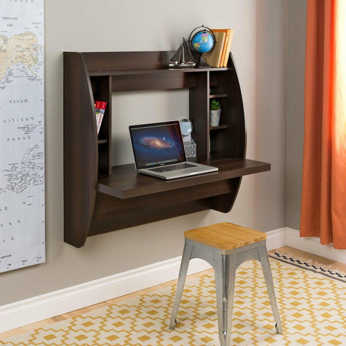 FastFurnishings Wall Mount Space Saving Modern Laptop Computer Desk in Espresso