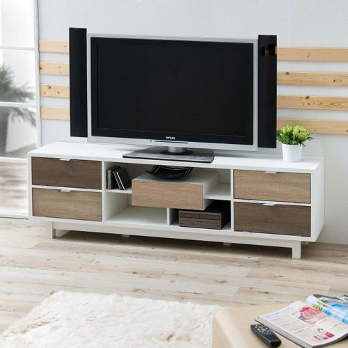 FastFurnishings Modern 70-inch White TV Stand Entertainment Center with Natural Wood Accents