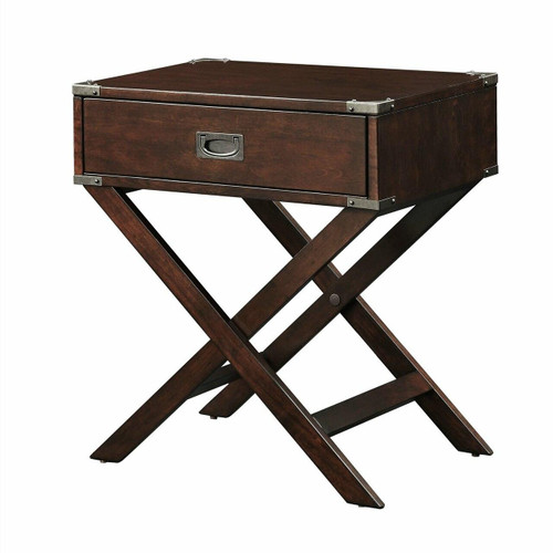 FastFurnishings Espresso Brown Wood 1-Drawer End Table Nightstand with X Legs
