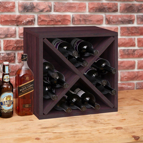 FastFurnishings Stackable 12-Bottle Wine Rack in Espresso Brown Wood Finish