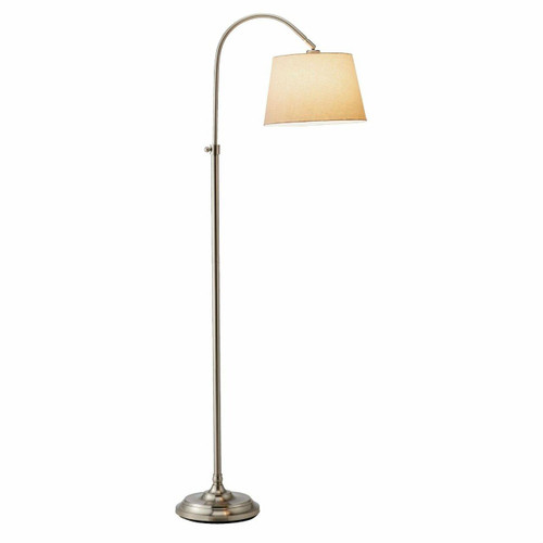 FastFurnishings Elegant Arch Floor Lamp with White Linen Tapered Drum Shade