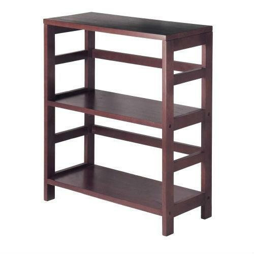 FastFurnishings Contemporary 3-Tier Bookcase Storage Shelf in Espresso Wood Finish
