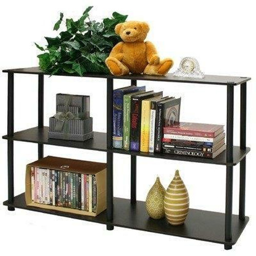 FastFurnishings 3-Tier Storage Display Shelf/Rack Bookcase in Espresso/Black