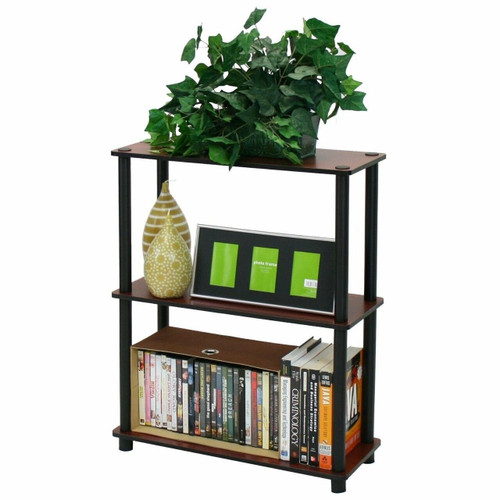 FastFurnishings Dark Cherry and Black 3-Tier Shelves Display Bookcase