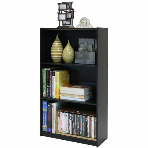 FastFurnishings 3-Tier Bookcase Storage Shelves in Espresso Finish