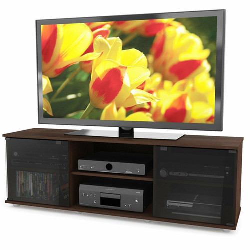 FastFurnishings Contemporary Brown TV Stand with Glass Doors - Fits TVs up to 64-inch
