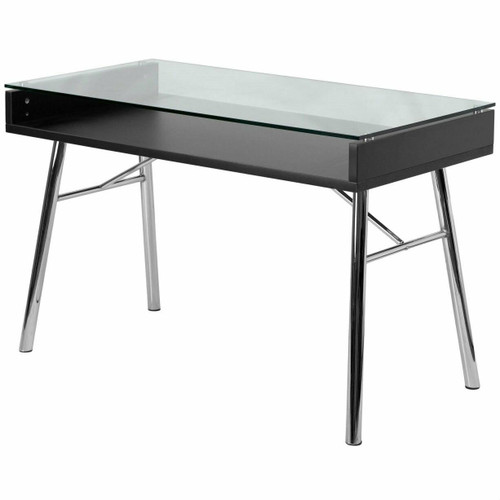 FastFurnishings Modern Tempered Glass Top Writing Table Computer Desk with Chrome Legs
