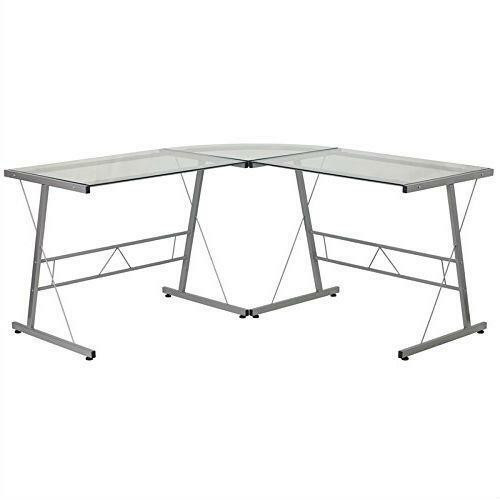 FastFurnishings Modern Silver Metal L-Shaped Desk with Glass Top and Floor Glides