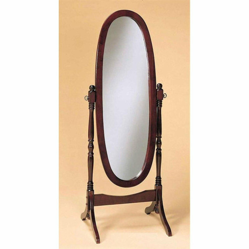 FastFurnishings Cherry Finish Oval Cheval Mirror Full Length Solid Wood Floor Mirror