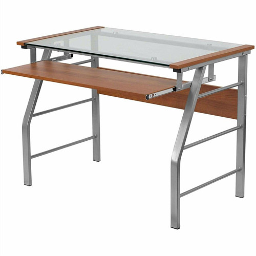 FastFurnishings Contemporary Tempered Glass Top Computer Desk with Cherry Keyboard Tray