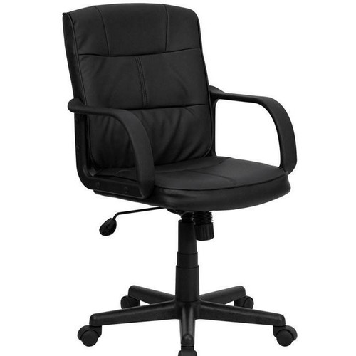 FastFurnishings Black Mid-Back Polyurethane and Leather Office Chair with Nylon Arms