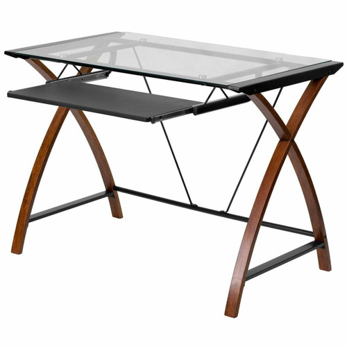 FastFurnishings Modern Cherry Finish Glass Top Writing Table Computer Desk with Keyboard Tray