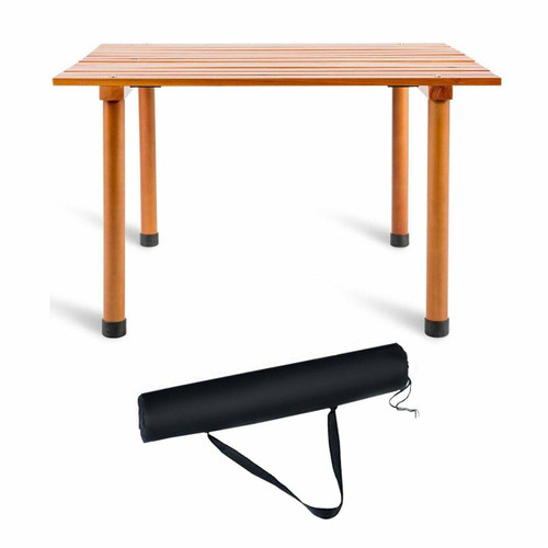 FastFurnishings Outdoor Portable Roll-Up Folding Wood Patio Table with Carry Bag