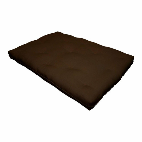 FastFurnishings Full size 8-inch Thick Cotton Poly Futon Mattress in Dark Brown