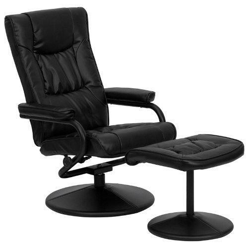 FastFurnishings Black Faux Leather Recliner Chair with Swivel Seat and Ottoman