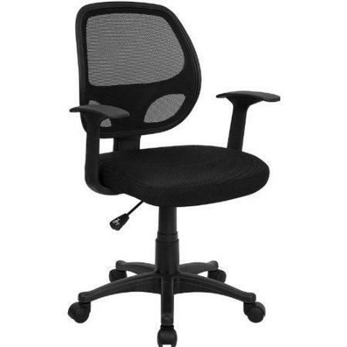 FastFurnishings Black Mesh Mid-Back Office Chair