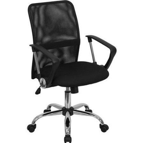 FastFurnishings Black Mid-Back Mesh Office Chair with Chrome Finished Base