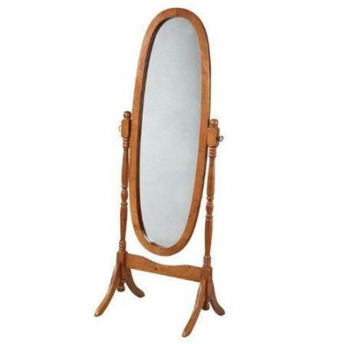 FastFurnishings Oval Cheval Mirror in Oak Finish