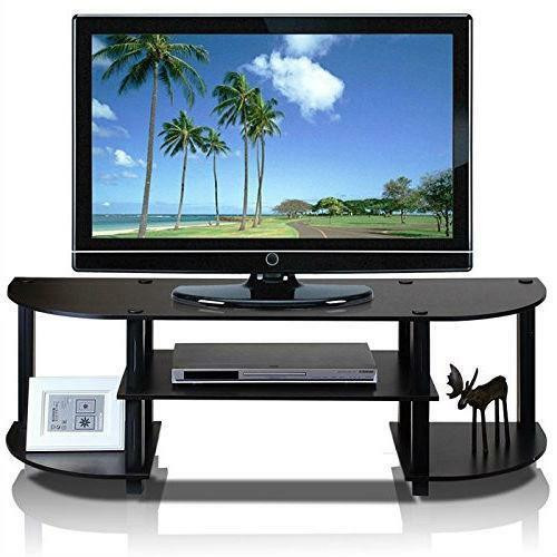 FastFurnishings Espresso and Black TV Stand Entertainment Center - Fits up to 42-inch TV