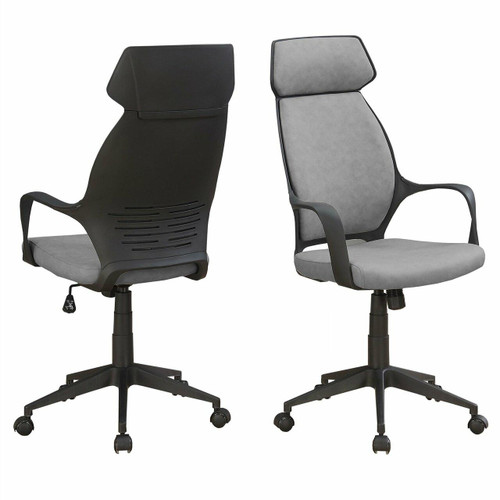 FastFurnishings Grey Black Ergonomic Adjustable Microfiber High Back Executive Office Chair