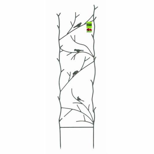 FastFurnishings 4-Ft High Garden Trellis with Metal Birds Branch Design in Espresso