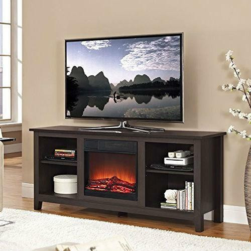 FastFurnishings Espresso Wood TV Stand with Electric Fireplace Heater Insert