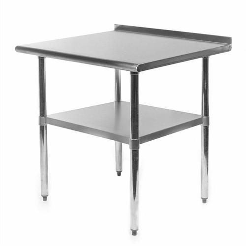 FastFurnishings Heavy Duty 30 x 24 inch Stainless Steel Restaurant Kitchen Prep Work Table with Backsplash