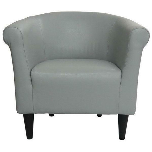 FastFurnishings Gray Faux Leather Upholstered Accent Chair Club Chair - Made in USA