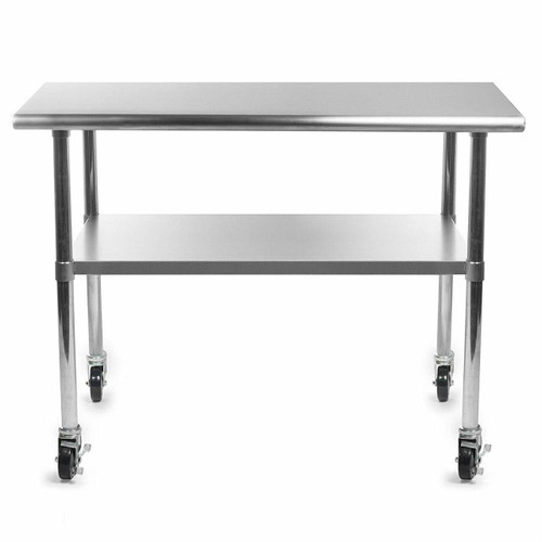 FastFurnishings Stainless Steel 48 x 24-inch Kitchen Prep Table with Casters