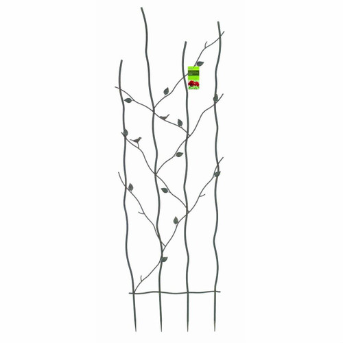 FastFurnishings 60-inch High Metal Garden Trellis with Climbing Vine Leaf Design