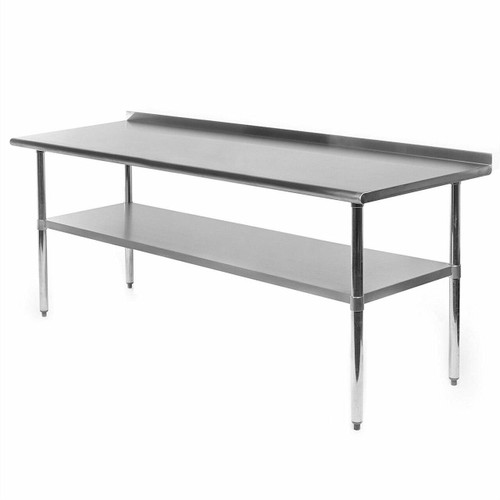 FastFurnishings Stainless Steel 72 x 24 inch Kitchen Prep Work Table with Backsplash