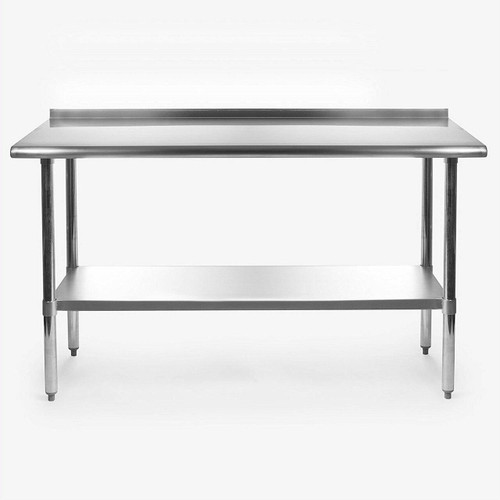 FastFurnishings Stainless Steel 60 x 24 inch Heavy Duty NSF Certified Work Bench Prep Table with Backsplash