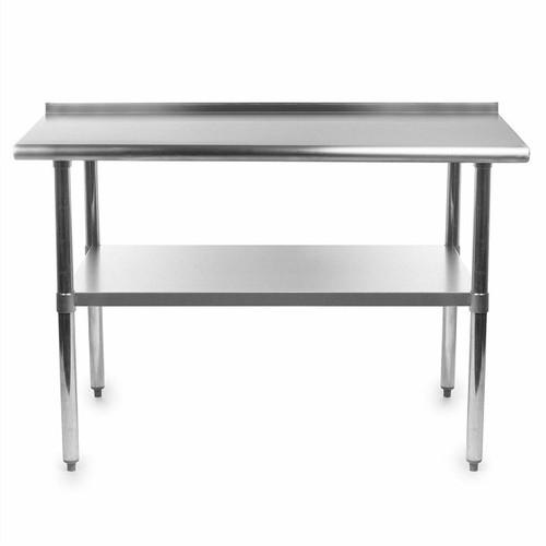 FastFurnishings Heavy Duty 48 x 24 inch Stainless Steel Kitchen Prep Work Table with Backsplash