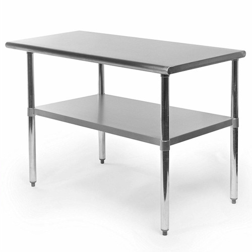 FastFurnishings Stainless Steel 48 x 24 inch Heavy Duty Kitchen Work Table