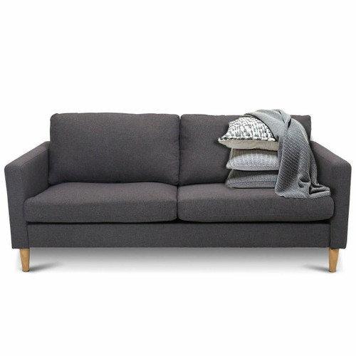 FastFurnishings Modern Mid-Century Style Grey Fabric Sofa with Wood Legs