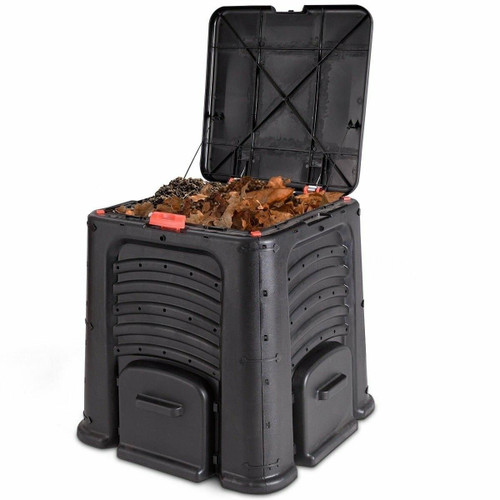 FastFurnishings Outdoor 105 Gallon Compost Bin for Home Garden Composting