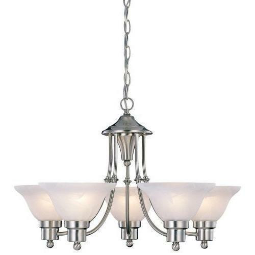 FastFurnishings 5-Light Brushed Nickel Chandelier with White Frosted Shades