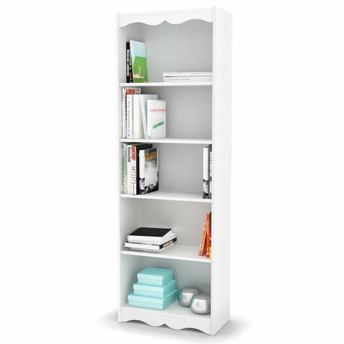 FastFurnishings White 72-inch High Bookcase with Soft Arches and 5 Shelves
