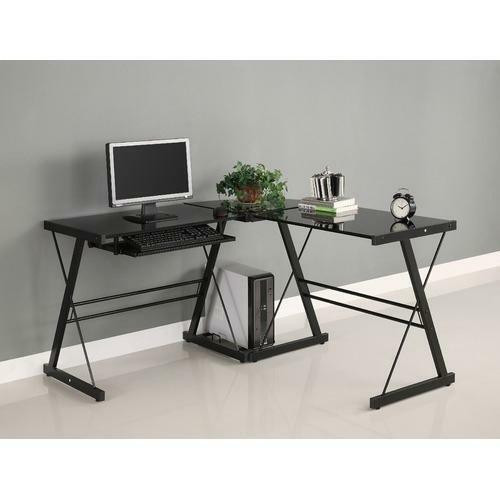 FastFurnishings Black Metal L-Shaped Corner Computer Desk with Glass Top