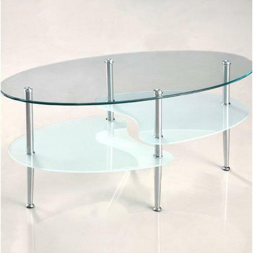 FastFurnishings Modern Oval Glass Coffee Table with Chrome Metal Legs