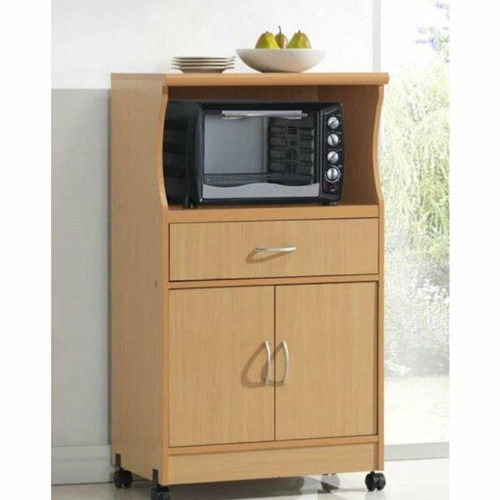 FastFurnishings Beech Wood Microwave Cart Kitchen Cabinet with Wheels and Storage Drawer